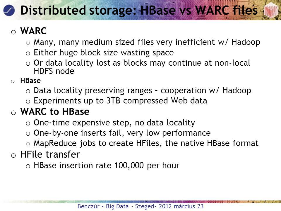 Benczúr – Big Data - Szeged- 2012 március 23 Distributed storage: HBase vs WARC files o WARC o Many, many medium sized files very inefficient w/ Hadoo