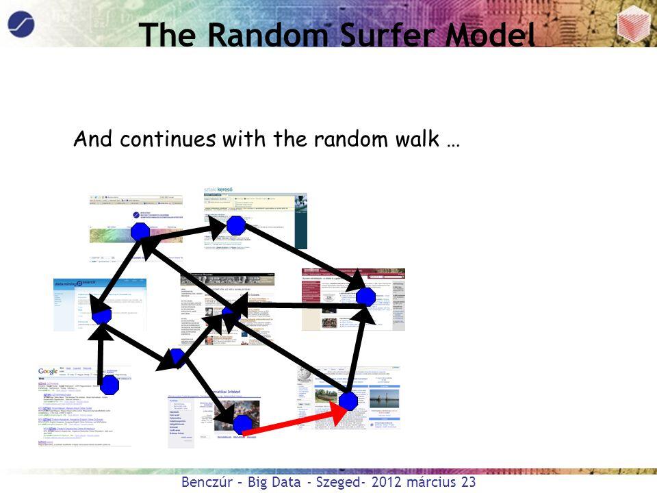 Benczúr – Big Data - Szeged- 2012 március 23 The Random Surfer Model And continues with the random walk …