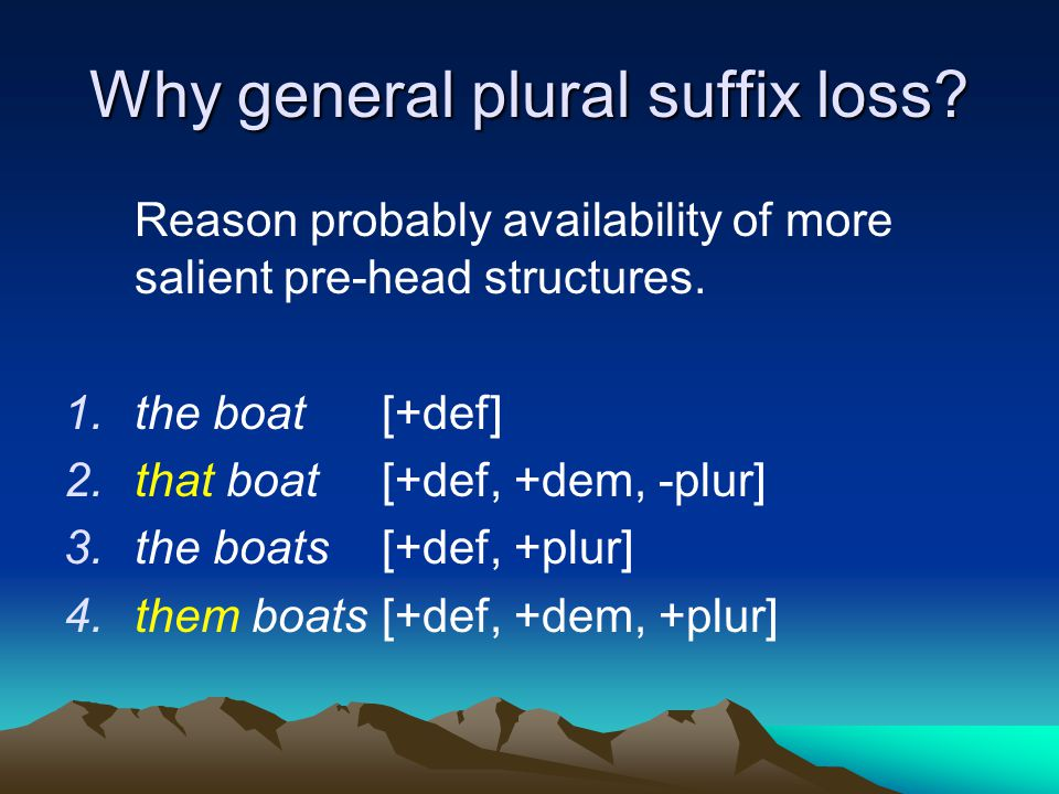 Why general plural suffix loss? Reason probably availability of more salient pre-head structures. 1.the boat[+def] 2.that boat[+def, +dem, -plur] 3.th
