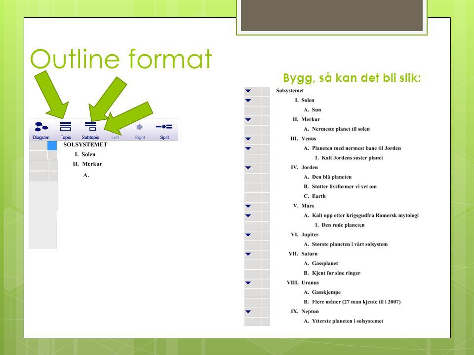 Outline format Bygg, så kan det bli slik:
