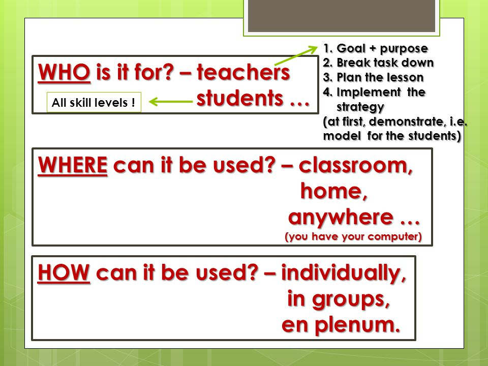 WHO is it for. – teachers students … students … WHERE can it be used.