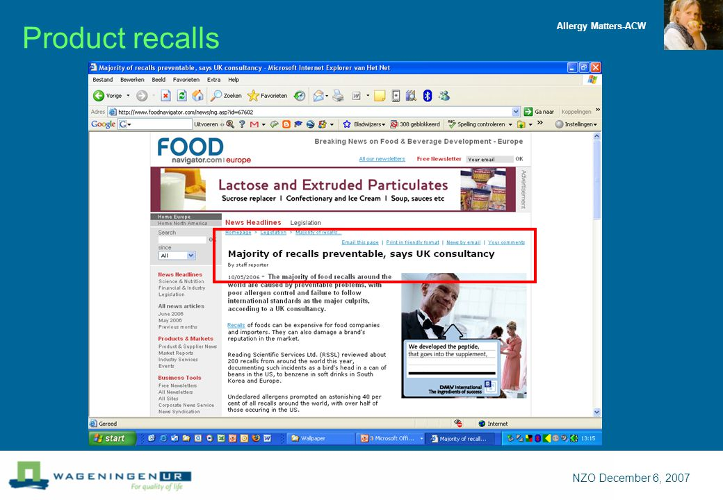 Allergy Matters-ACW NZO December 6, 2007 Product recalls