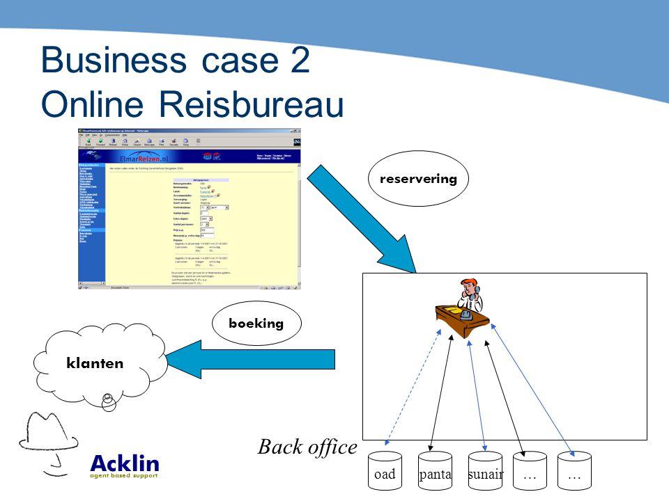 Acklin agent based support Business case 2 Online Reisbureau Back office reservering oadpantasunair…… boeking klanten