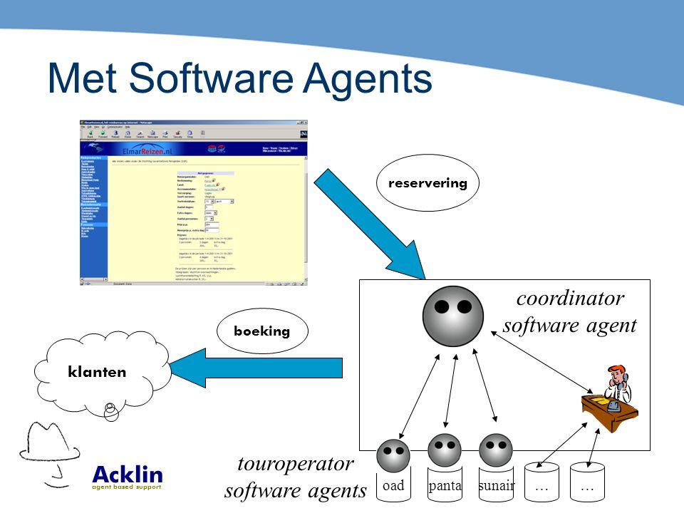 Acklin agent based support Met Software Agents reservering oadpantasunair…… boeking klanten coordinator software agent touroperator software agents
