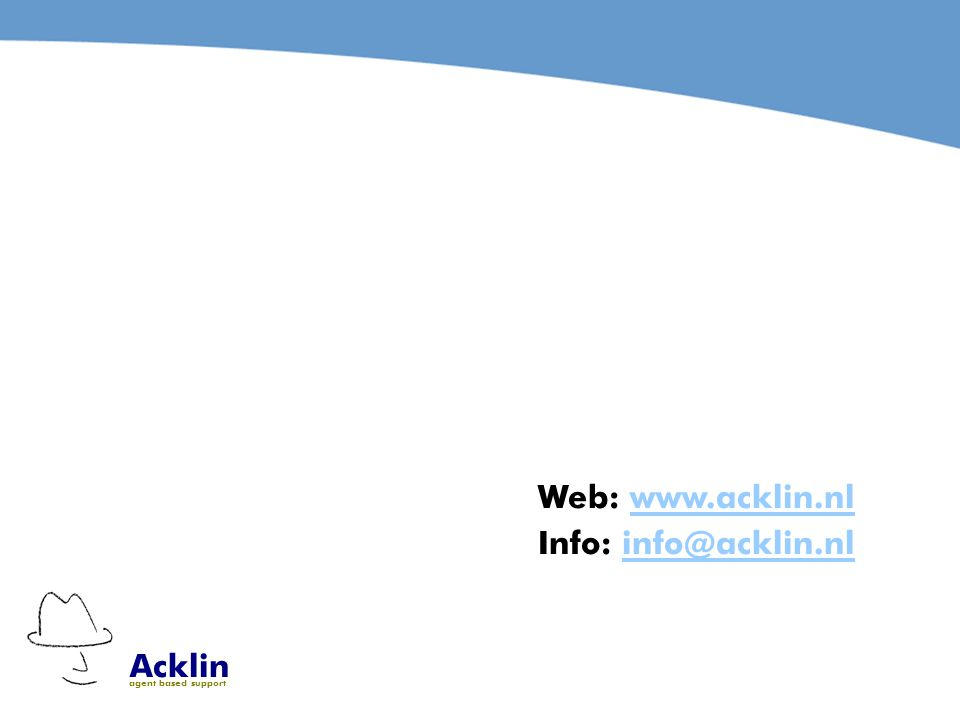 Acklin agent based support Web:   Info: