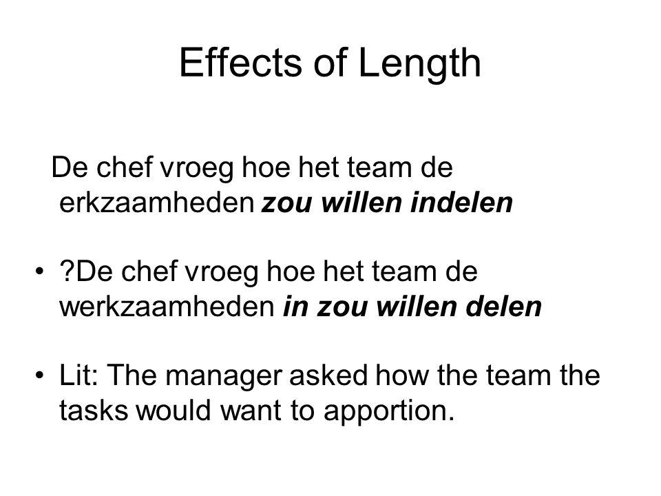 Effects of Length De chef vroeg hoe het team de erkzaamheden zou willen indelen De chef vroeg hoe het team de werkzaamheden in zou willen delen Lit: The manager asked how the team the tasks would want to apportion.