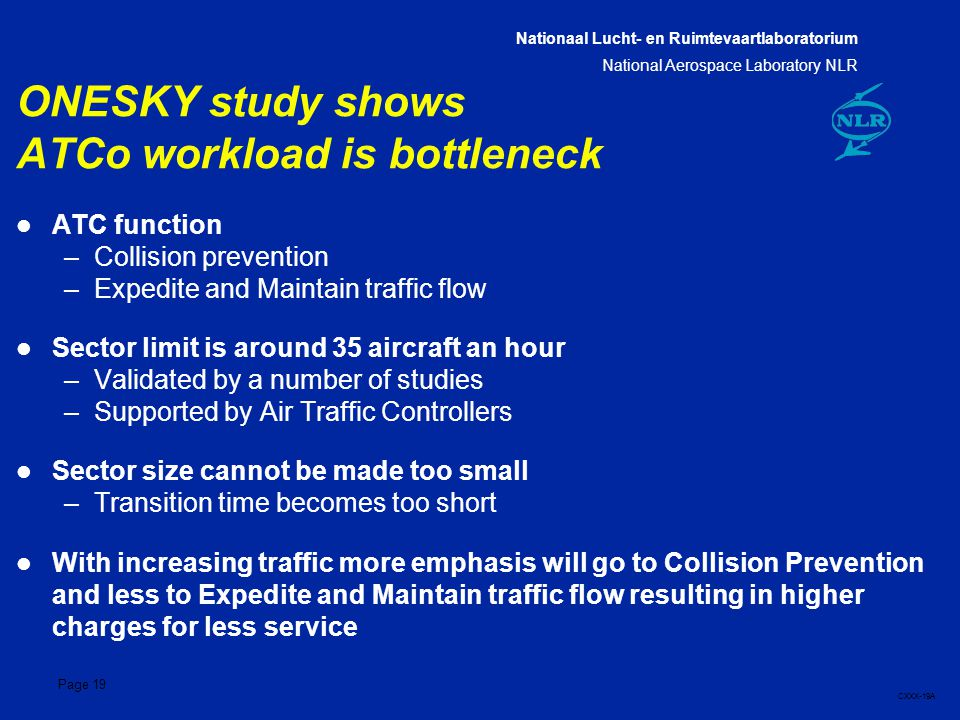 Nationaal Lucht- en Ruimtevaartlaboratorium National Aerospace Laboratory NLR CXXX-19A Page 19 ONESKY study shows ATCo workload is bottleneck l ATC function –Collision prevention –Expedite and Maintain traffic flow l Sector limit is around 35 aircraft an hour –Validated by a number of studies –Supported by Air Traffic Controllers l Sector size cannot be made too small –Transition time becomes too short l With increasing traffic more emphasis will go to Collision Prevention and less to Expedite and Maintain traffic flow resulting in higher charges for less service