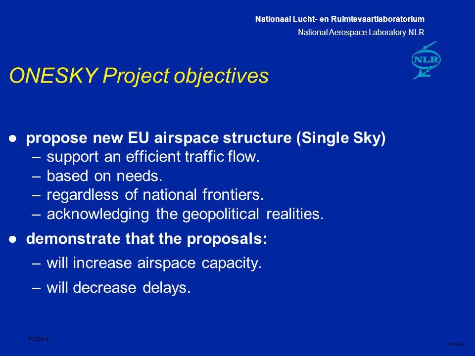 Nationaal Lucht- en Ruimtevaartlaboratorium National Aerospace Laboratory NLR CXXX-2A Page 2 l propose new EU airspace structure (Single Sky) –support an efficient traffic flow.