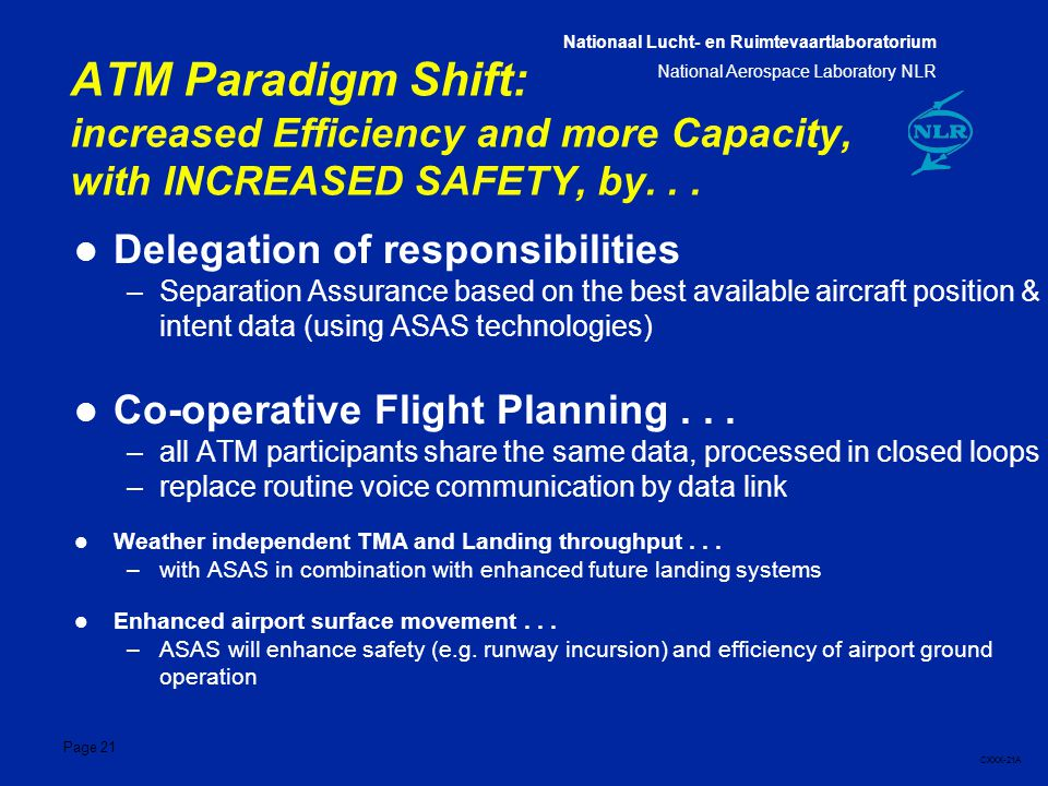 Nationaal Lucht- en Ruimtevaartlaboratorium National Aerospace Laboratory NLR CXXX-21A Page 21 ATM Paradigm Shift: increased Efficiency and more Capacity, with INCREASED SAFETY, by...
