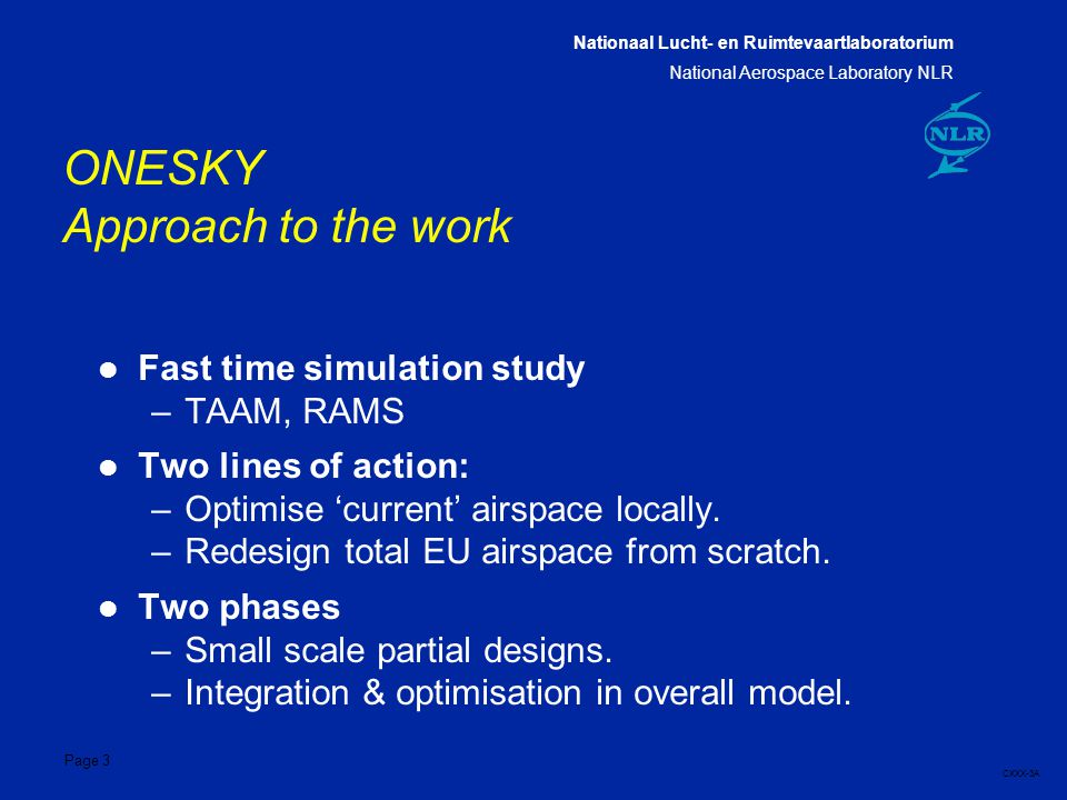 Nationaal Lucht- en Ruimtevaartlaboratorium National Aerospace Laboratory NLR CXXX-3A Page 3 ONESKY Approach to the work l Fast time simulation study –TAAM, RAMS l Two lines of action: –Optimise 'current' airspace locally.