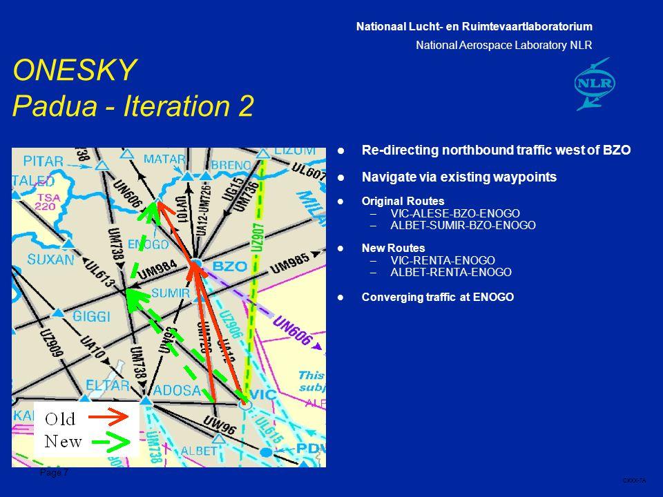 Nationaal Lucht- en Ruimtevaartlaboratorium National Aerospace Laboratory NLR CXXX-7A Page 7 ONESKY Padua - Iteration 2 l Re-directing northbound traffic west of BZO l Navigate via existing waypoints l Original Routes –VIC-ALESE-BZO-ENOGO –ALBET-SUMIR-BZO-ENOGO l New Routes –VIC-RENTA-ENOGO –ALBET-RENTA-ENOGO l Converging traffic at ENOGO