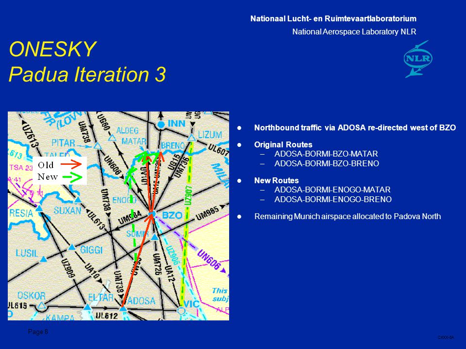 Nationaal Lucht- en Ruimtevaartlaboratorium National Aerospace Laboratory NLR CXXX-8A Page 8 ONESKY Padua Iteration 3 l Northbound traffic via ADOSA re-directed west of BZO l Original Routes –ADOSA-BORMI-BZO-MATAR –ADOSA-BORMI-BZO-BRENO l New Routes –ADOSA-BORMI-ENOGO-MATAR –ADOSA-BORMI-ENOGO-BRENO l Remaining Munich airspace allocated to Padova North