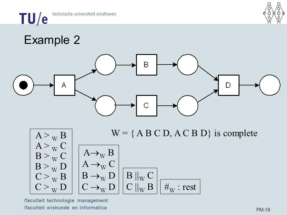 /faculteit technologie management /faculteit wiskunde en informatica PM-18 Example 2 W = { A B C D, A C B D} is complete A > W B A > W C B > W C B > W D C > W B C > W D A  W B A  W C B  W D C  W D B  W C C  W B # W : rest