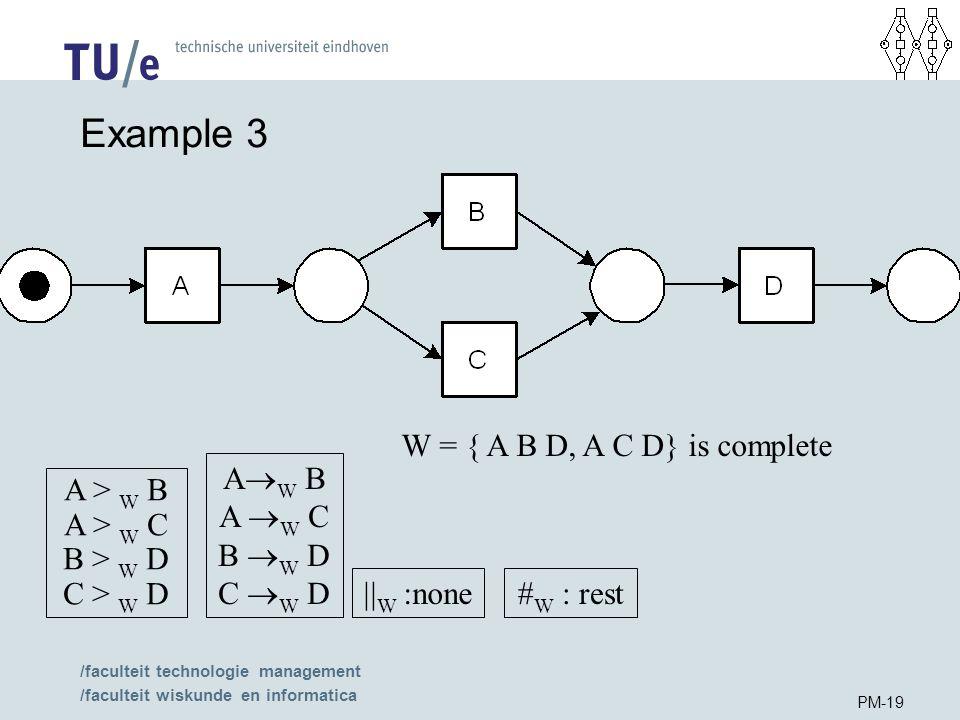 /faculteit technologie management /faculteit wiskunde en informatica PM-19 Example 3 W = { A B D, A C D} is complete A > W B A > W C B > W D C > W D A  W B A  W C B  W D C  W D  W :none # W : rest