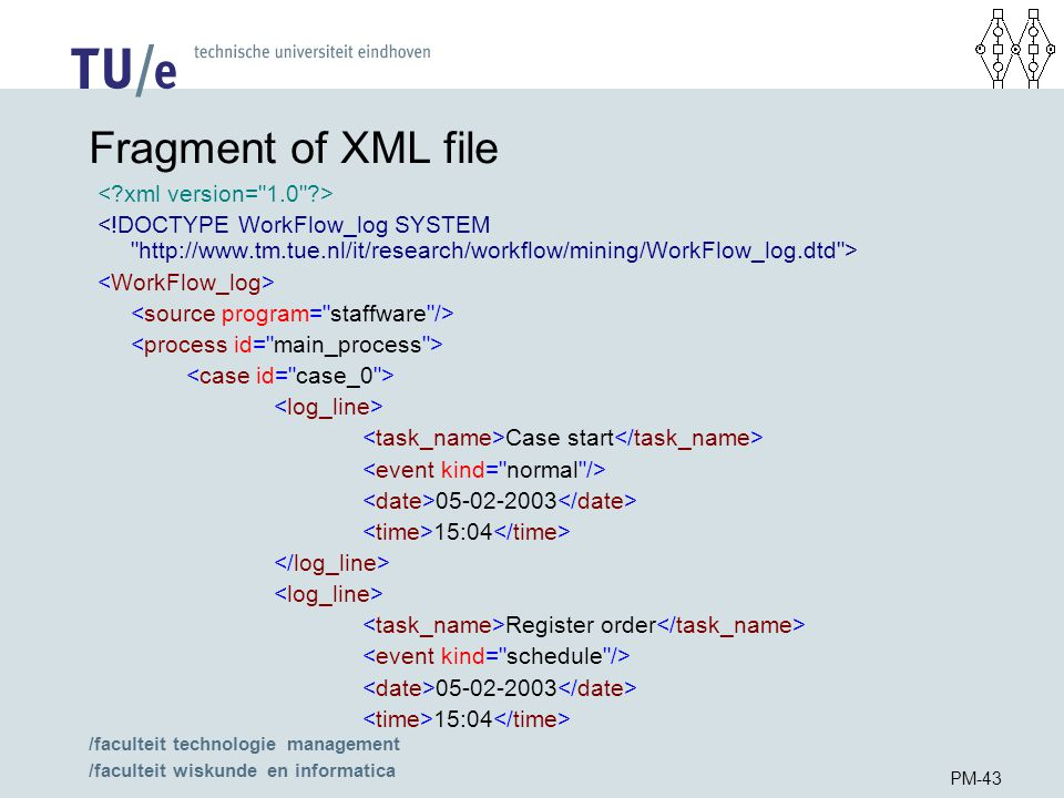 /faculteit technologie management /faculteit wiskunde en informatica PM-43 Fragment of XML file Case start :04 Register order :04