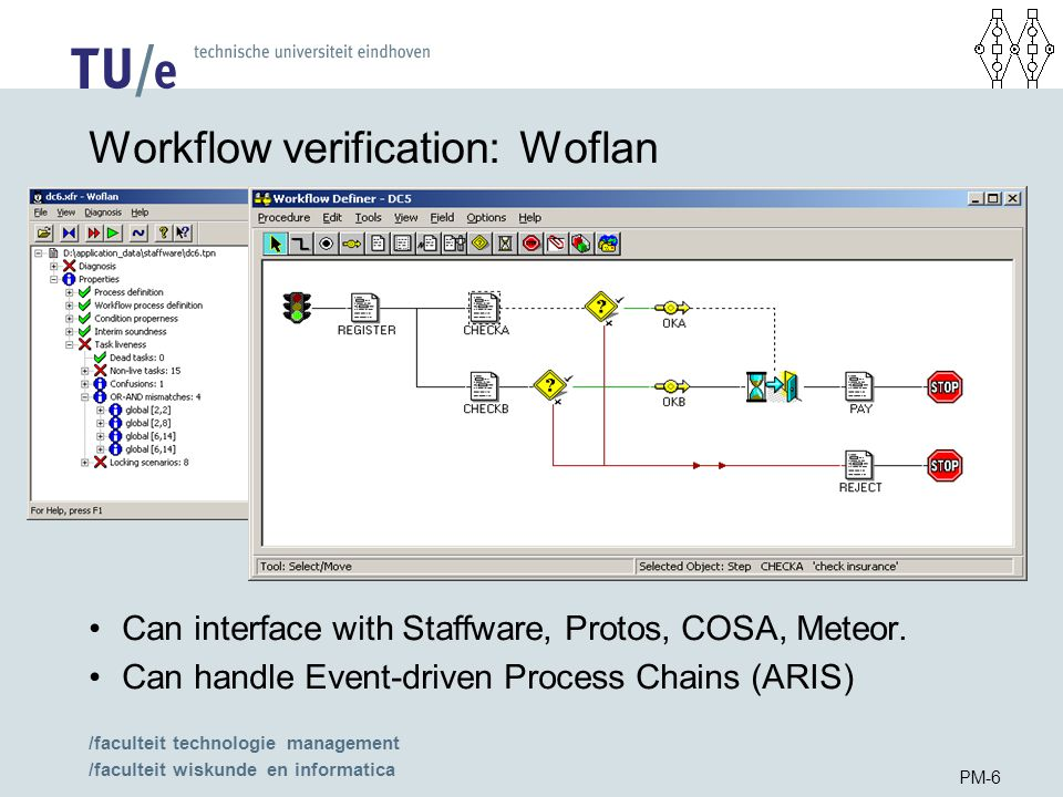 /faculteit technologie management /faculteit wiskunde en informatica PM-6 Workflow verification: Woflan Can interface with Staffware, Protos, COSA, Meteor.
