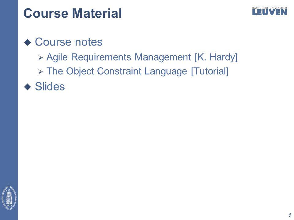 Course Material  Course notes  Agile Requirements Management [K.
