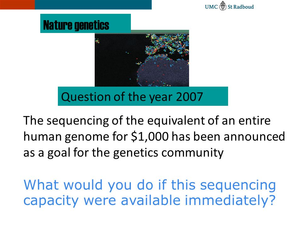 Question of the year 2007 Nature genetics The sequencing of the equivalent of an entire human genome for $1,000 has been announced as a goal for the g