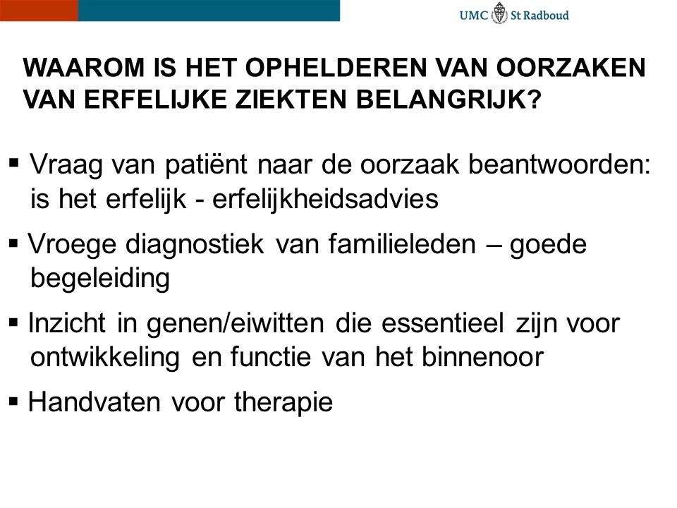 WAAROM IS HET OPHELDEREN VAN OORZAKEN VAN ERFELIJKE ZIEKTEN BELANGRIJK?  Vraag van patiënt naar de oorzaak beantwoorden: is het erfelijk - erfelijkhe