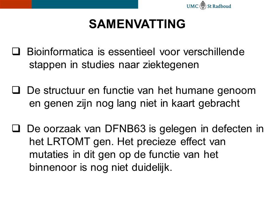 SAMENVATTING  Bioinformatica is essentieel voor verschillende stappen in studies naar ziektegenen  De structuur en functie van het humane genoom en