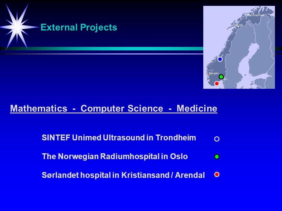 External Projects SINTEF Unimed Ultrasound in Trondheim The Norwegian Radiumhospital in Oslo Sørlandet hospitalin Kristiansand / Arendal Mathematics - Computer Science - Medicine