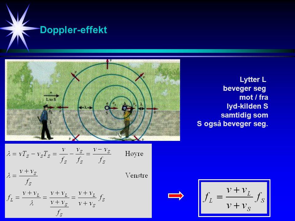 Doppler-effekt Lytter L beveger seg mot / fra lyd-kilden S samtidig som S også beveger seg.