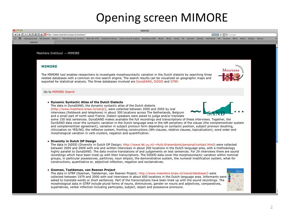 Opening screen MIMORE 2