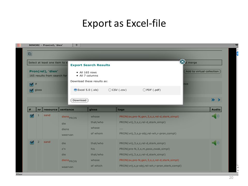 Export as Excel-file 20