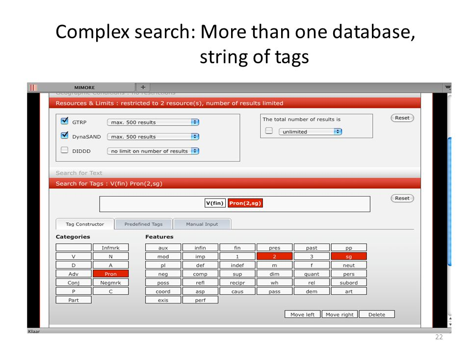 Complex search: More than one database, string of tags 22