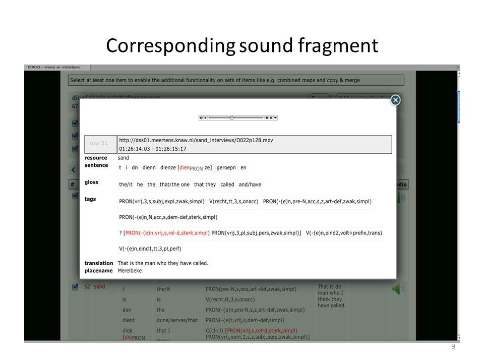 Corresponding sound fragment 9