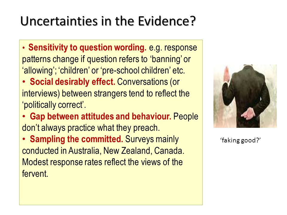 'faking good ' Uncertainties in the Evidence. Sensitivity to question wording.