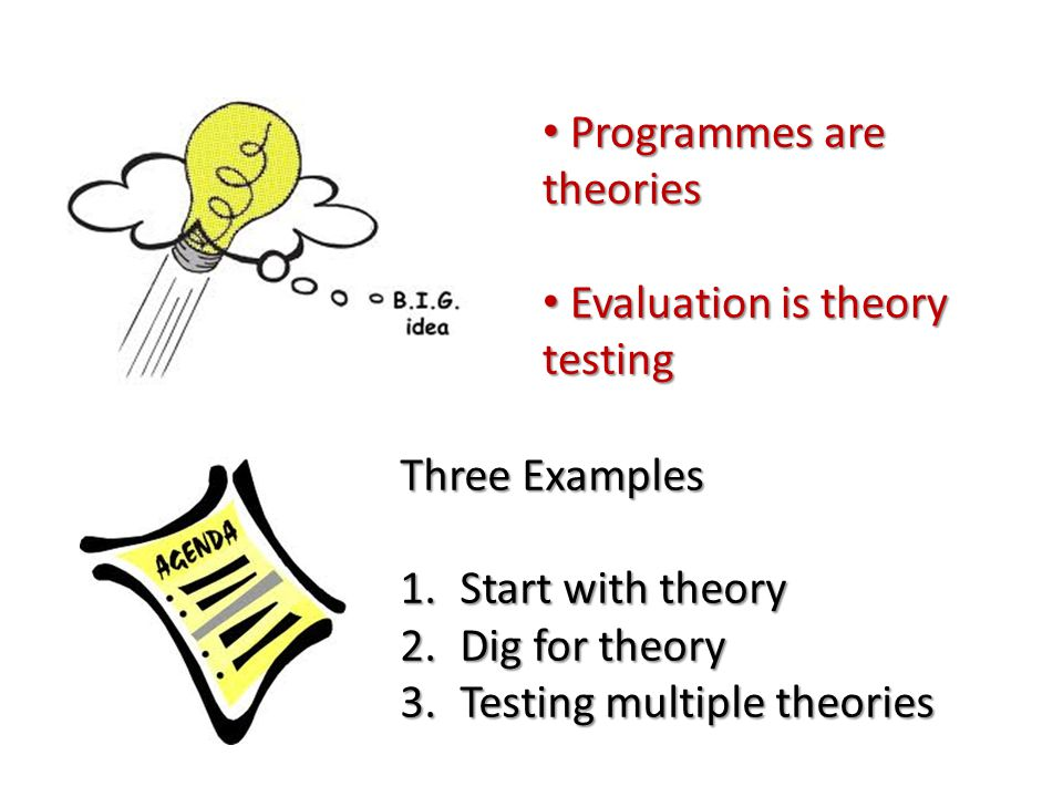 Programmes are theories Programmes are theories Evaluation is theory testing Evaluation is theory testing Three Examples 1.Start with theory 2.Dig for theory 3.Testing multiple theories