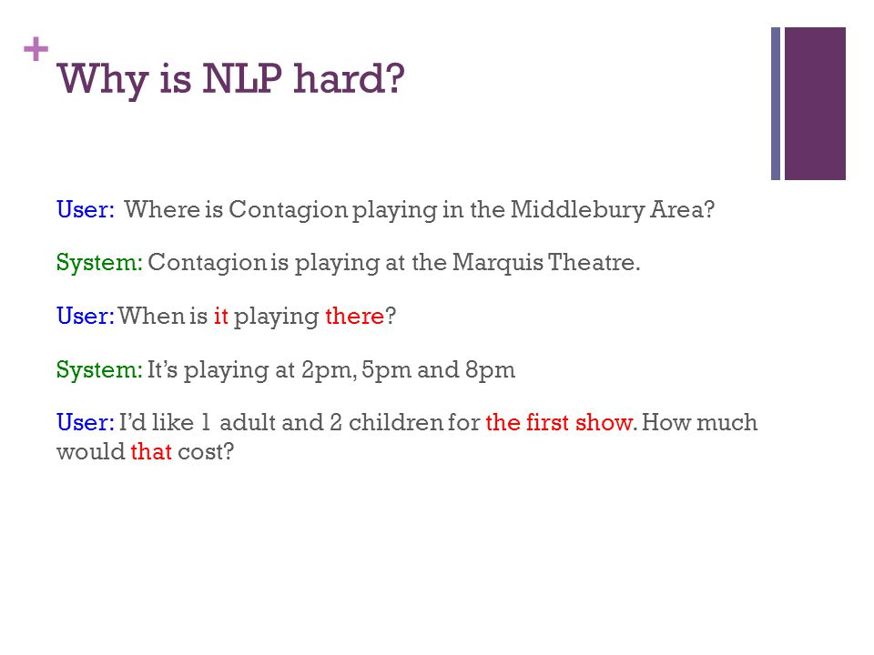 + Why is NLP hard. User: Where is Contagion playing in the Middlebury Area.