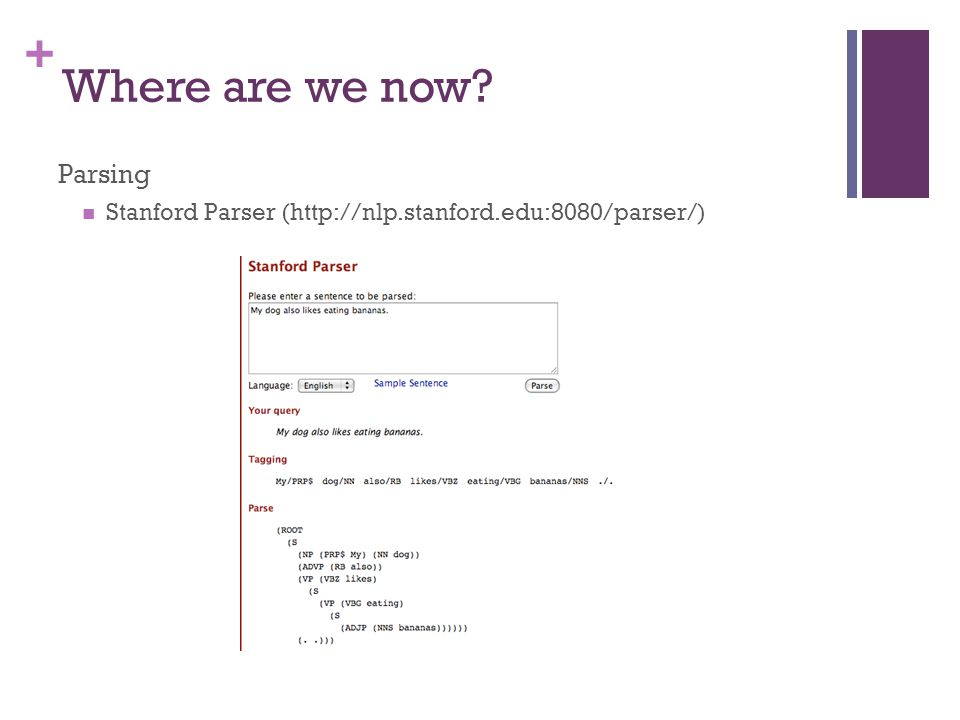 + Where are we now Parsing Stanford Parser (