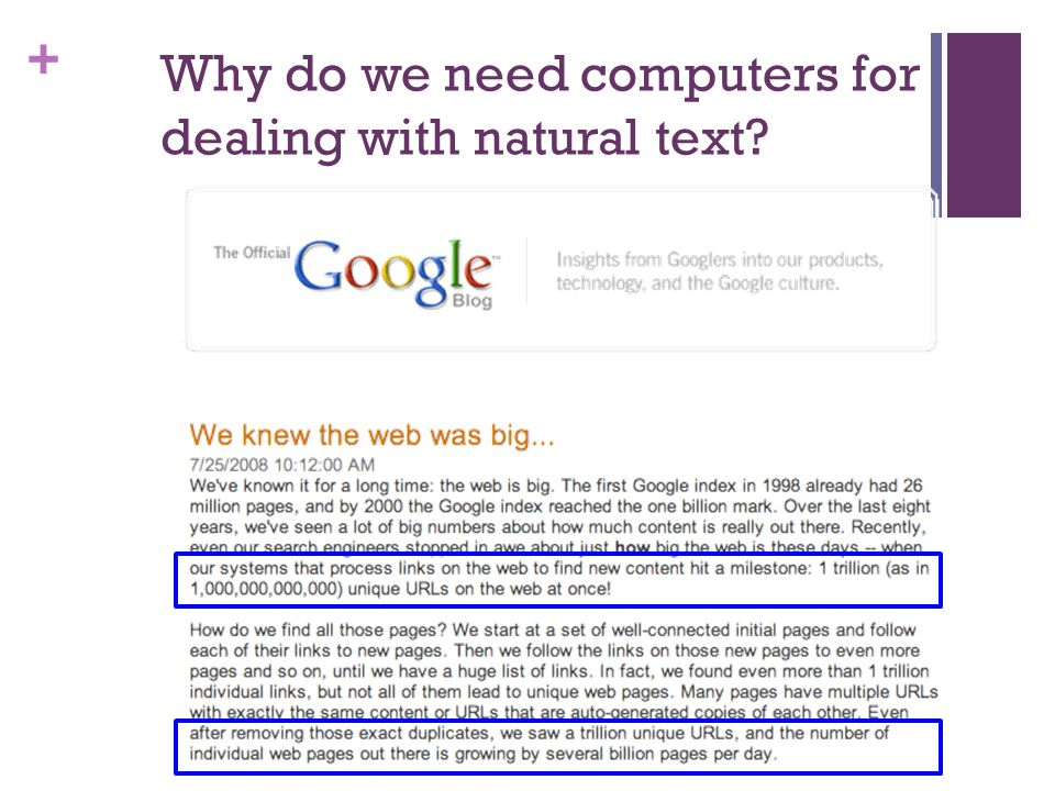 + Why do we need computers for dealing with natural text