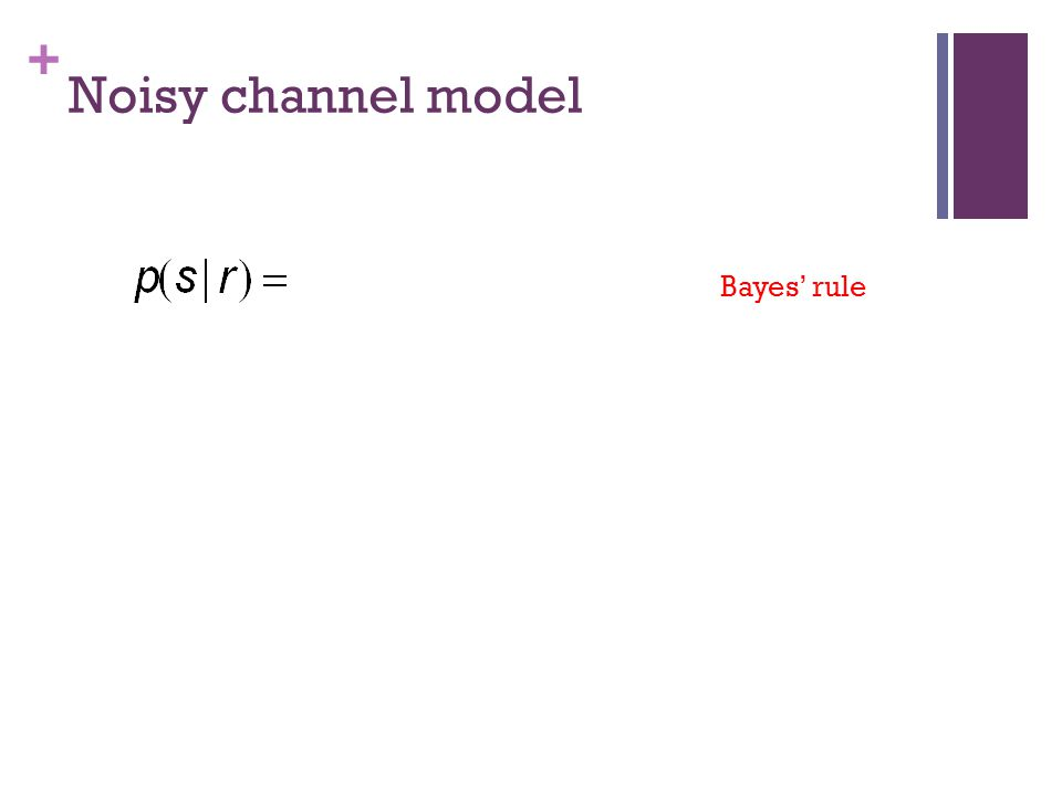 + Noisy channel model Bayes' rule