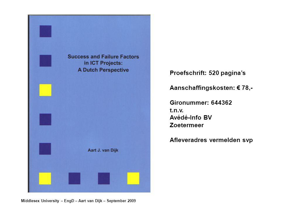 Middlesex University – EngD – Aart van Dijk – September 2009 Proefschrift: 520 pagina's Aanschaffingskosten: € 78,- Gironummer: 644362 t.n.v.