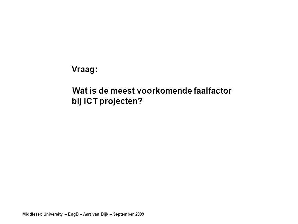 Middlesex University – EngD – Aart van Dijk – September 2009 Vraag: Wat is de meest voorkomende faalfactor bij ICT projecten