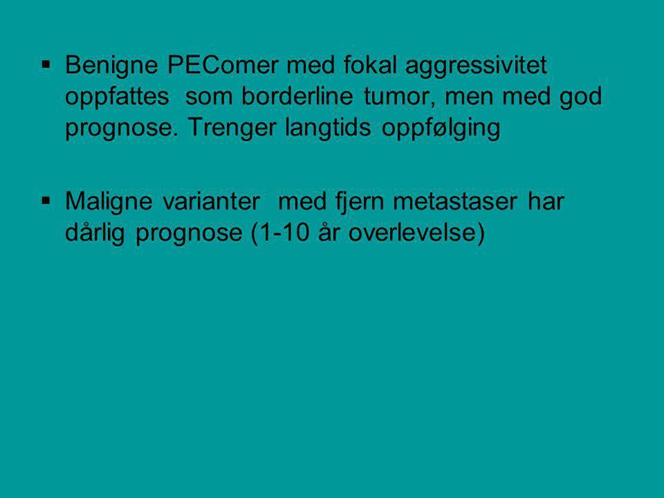  Benigne PEComer med fokal aggressivitet oppfattes som borderline tumor, men med god prognose.
