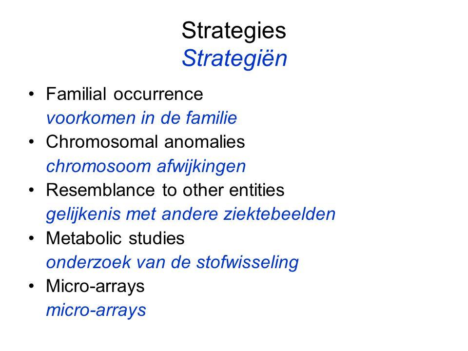 Strategies Strategiën Familial occurrence voorkomen in de familie Chromosomal anomalies chromosoom afwijkingen Resemblance to other entities gelijkenis met andere ziektebeelden Metabolic studies onderzoek van de stofwisseling Micro-arrays micro-arrays