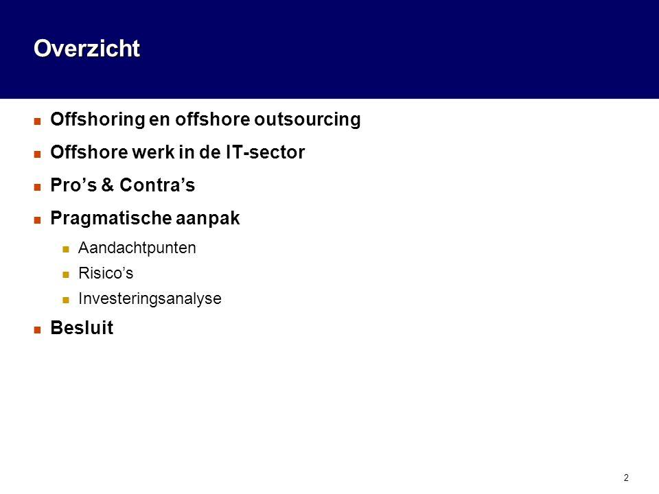 2 Overzicht Offshoring en offshore outsourcing Offshore werk in de IT-sector Pro's & Contra's Pragmatische aanpak Aandachtpunten Risico's Investeringsanalyse Besluit