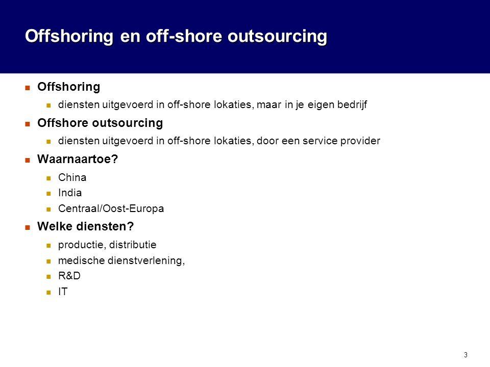 4 Offshore werk in de IT-sector Grootte: 15 000 M$/jaar Waarnaartoe.