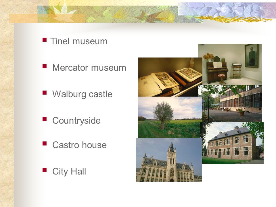 Tinel museum Mercator museum Walburg castle Countryside Castro house City Hall