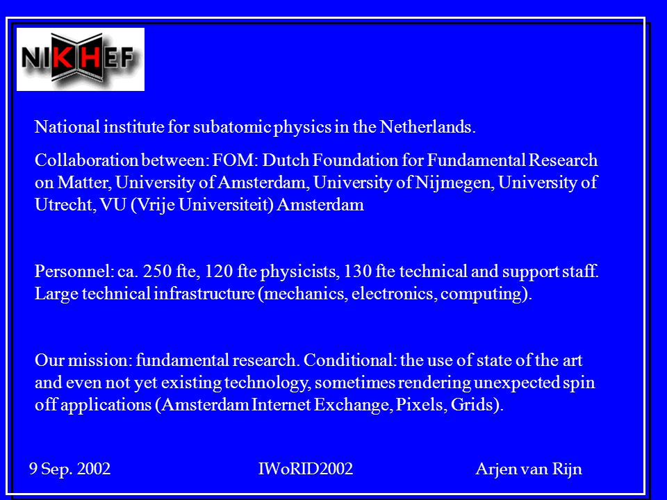 9 Sep. 2002 IWoRID2002 Arjen van Rijn National institute for subatomic physics in the Netherlands.
