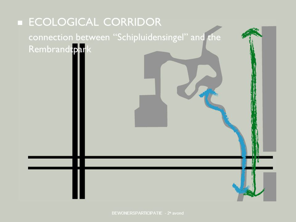 "BEWONERSPARTICIPATIE - 2 e avond ECOLOGICAL CORRIDOR connection between ""Schipluidensingel"" and the Rembrandtpark"