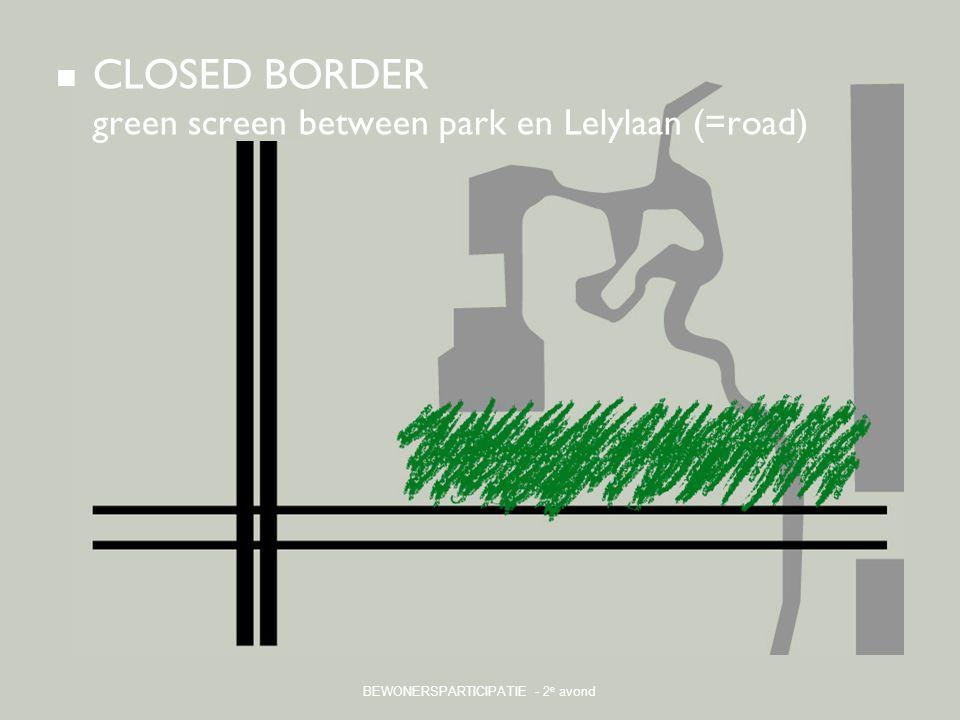 BEWONERSPARTICIPATIE - 2 e avond CLOSED BORDER green screen between park en Lelylaan (=road)