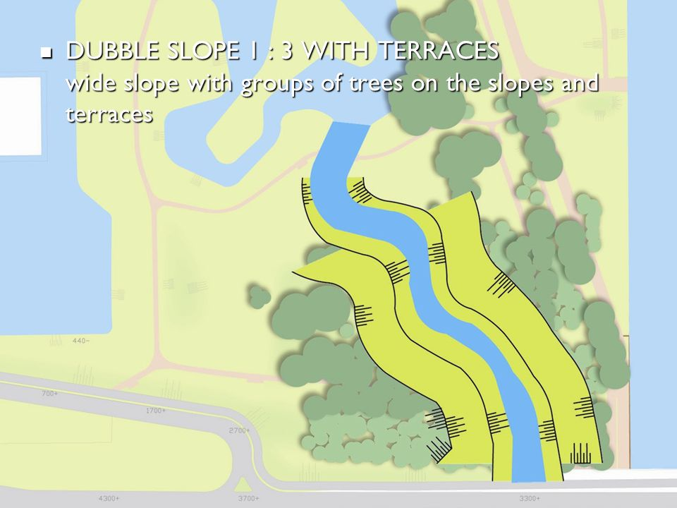 BEWONERSPARTICIPATIE - 2 e avond DUBBLE SLOPE 1 : 3 WITH TERRACES wide slope with groups of trees on the slopes and terraces DUBBLE SLOPE 1 : 3 WITH T