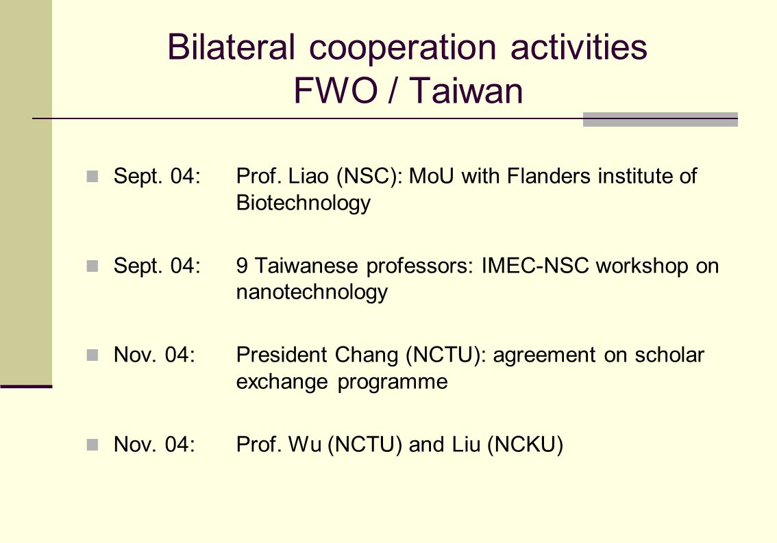 Bilateral cooperation activities FWO / Taiwan Sept.