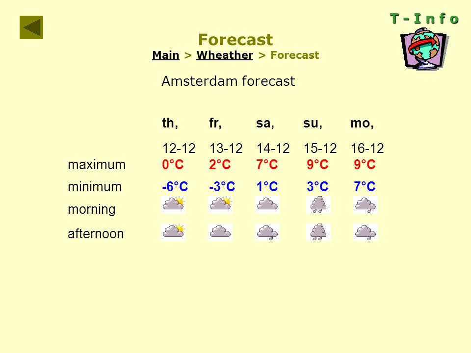 T - I n f o Forecast Main > Wheather > Forecast MainWheather th,fr,sa,su,mo, 12-1213-1214-1215-1216-12 maximum0°C2°C7°C 9°C 9°C minimum -6°C-3°C1°C 3°