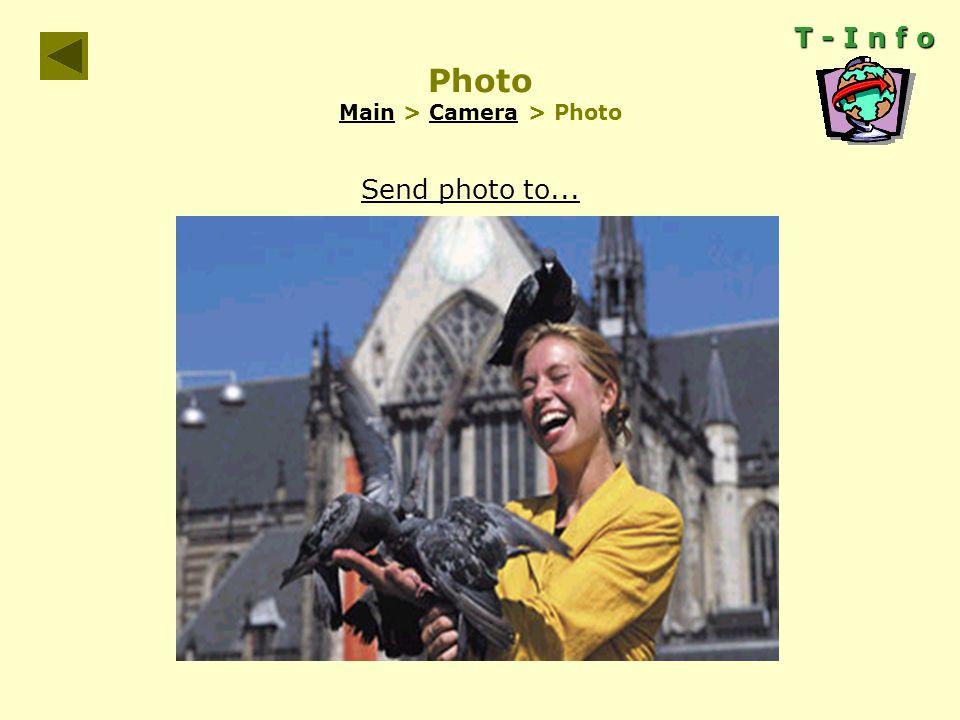 T - I n f o Photo Main > Camera > Photo MainCamera Send photo to...